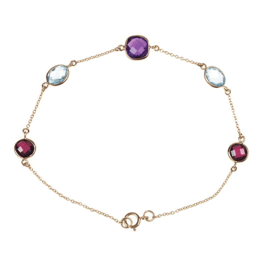 Złota bransoletka z kolorowymi kamieniami szlachetnymi: rodolitami, topazami i ametystem