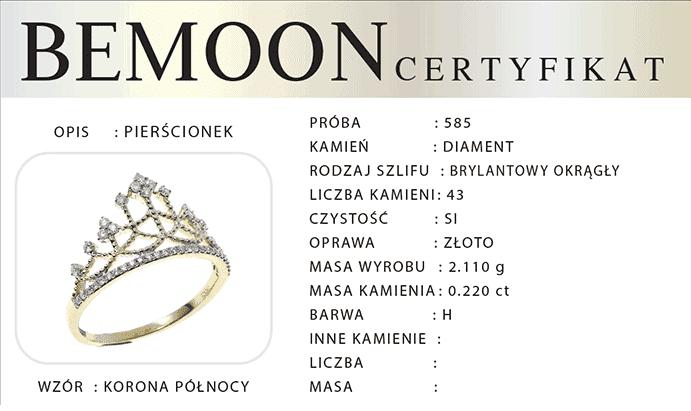 Certyfikat autentyczności na użyte diamenty i kamienie naturalne