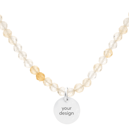 Citrine necklace with personalized pendant on white background
