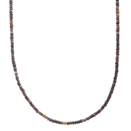 Necklace from natural opals on white background