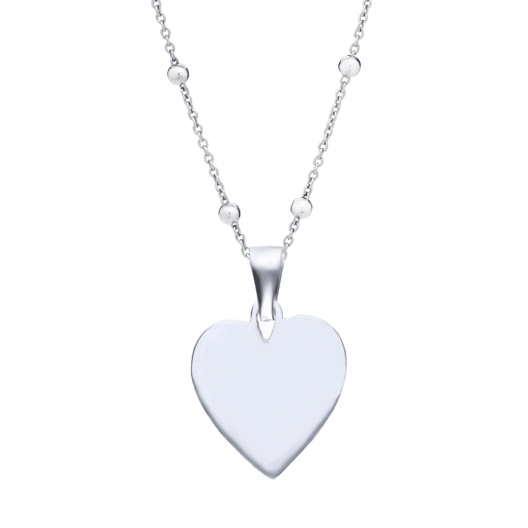 Srebrny naszyjnik z grawerem w kształcie serca