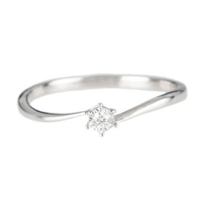 Pierścionek z białego złota z diamentem - zaręczynowy model.