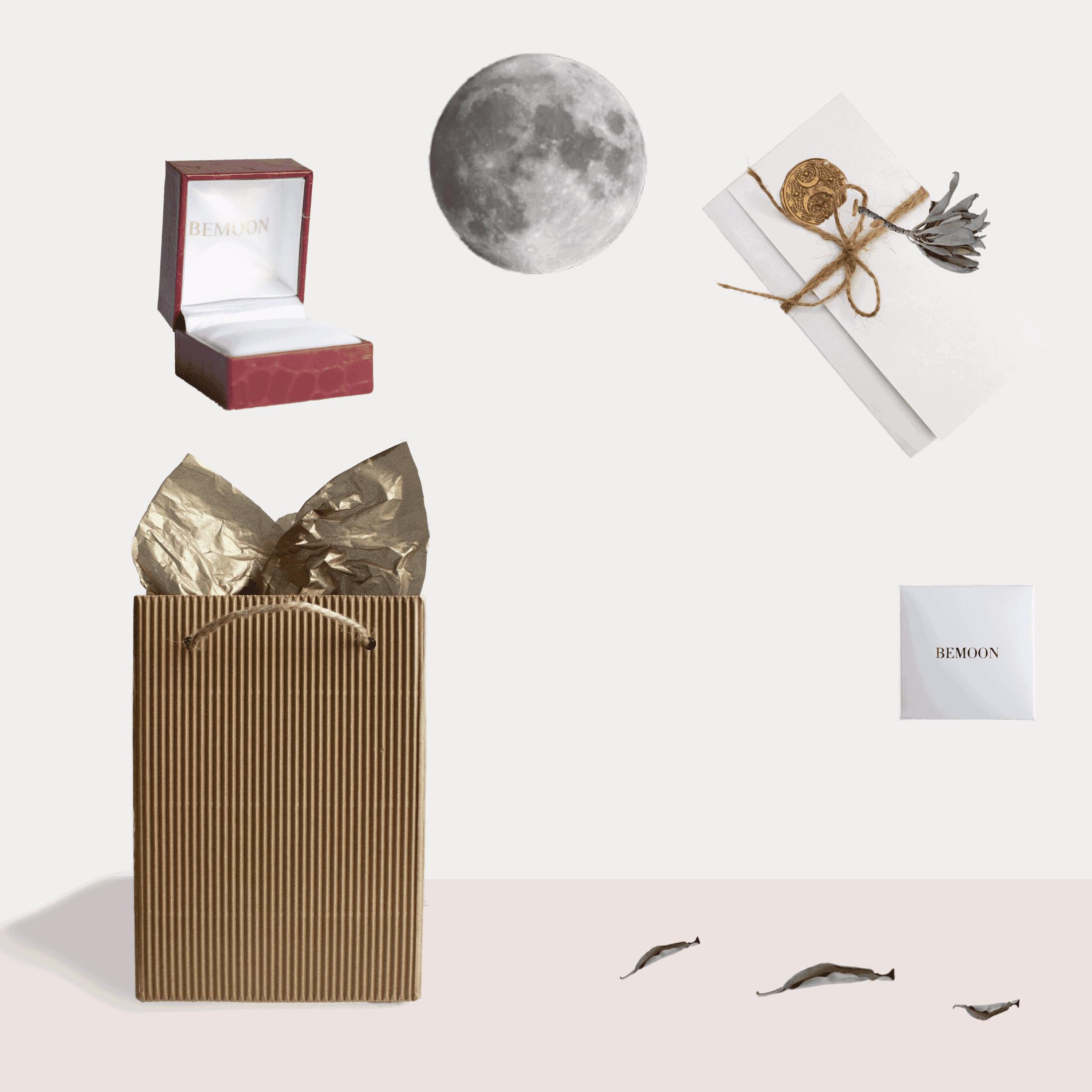 Opakowanie pierścionka zaręczynowego. Grafika pokazuje sposób pakowania ekologicznego biżuterii autorskiej.