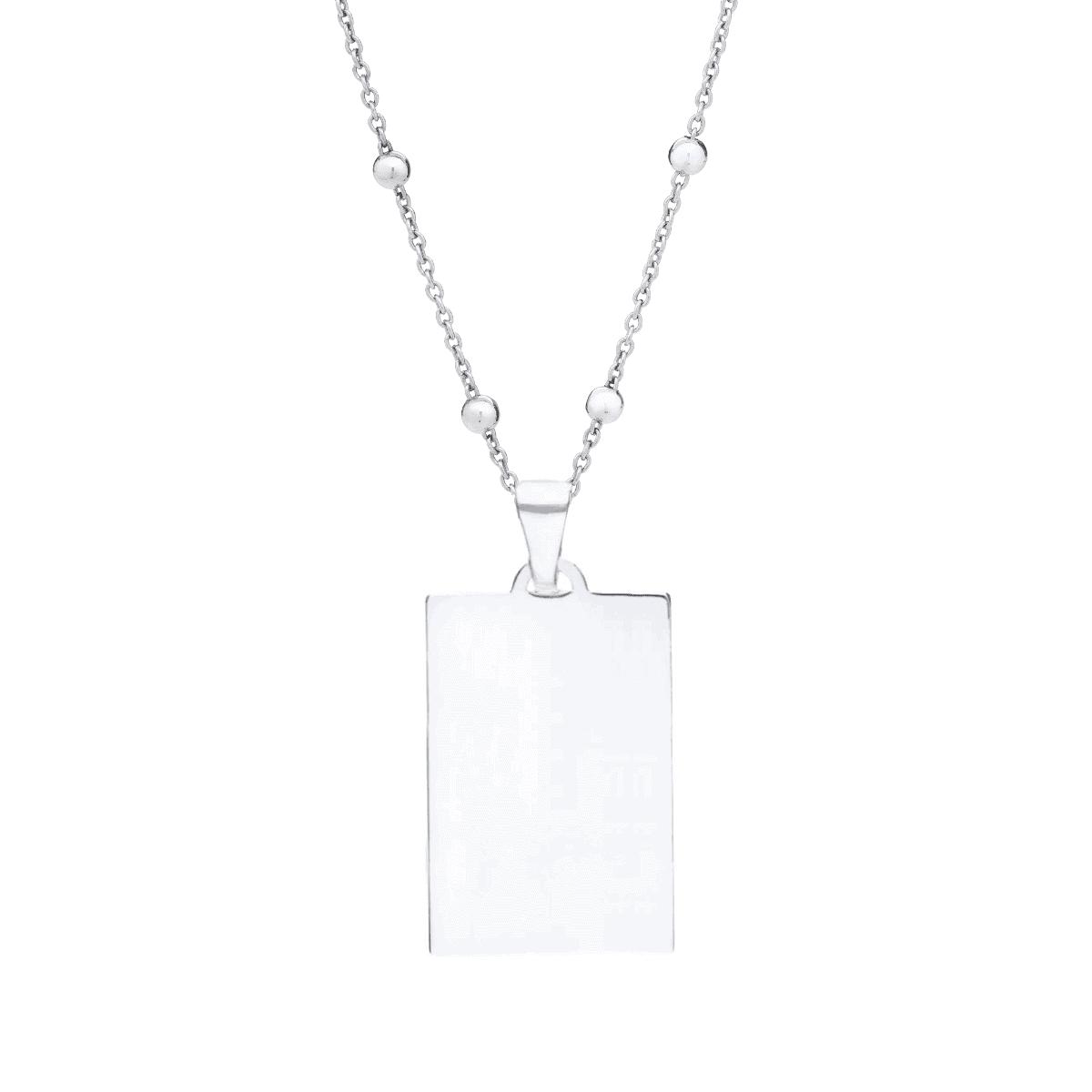 Srebrny naszyjnik blaszka z grawerem łańcuszek srebrne kulki