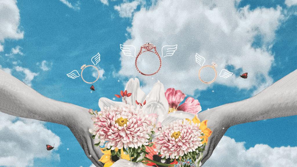 Kolaż obrazujący historię pierścionka zaręczynowego