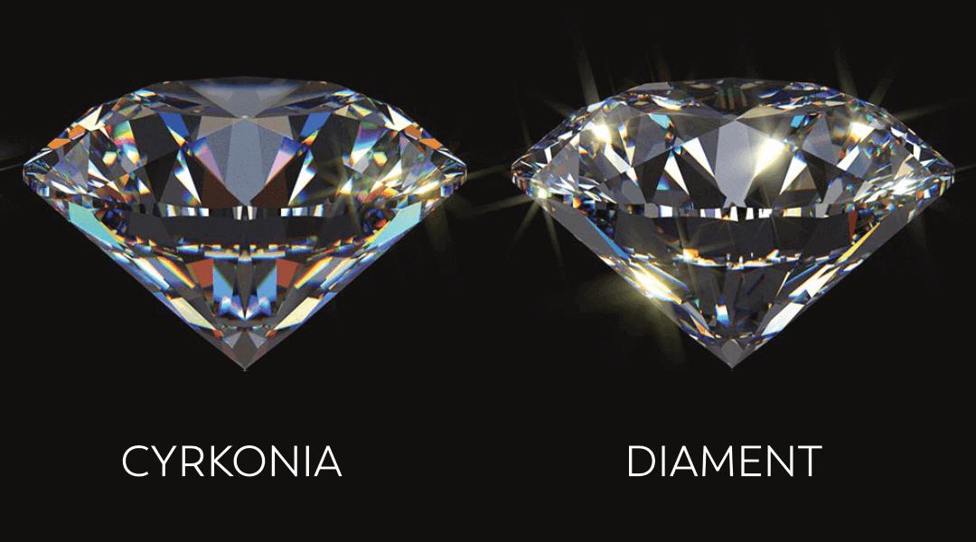 Jak odróżnić diament od cyrkonii - dwa kamienie na czarnym tle
